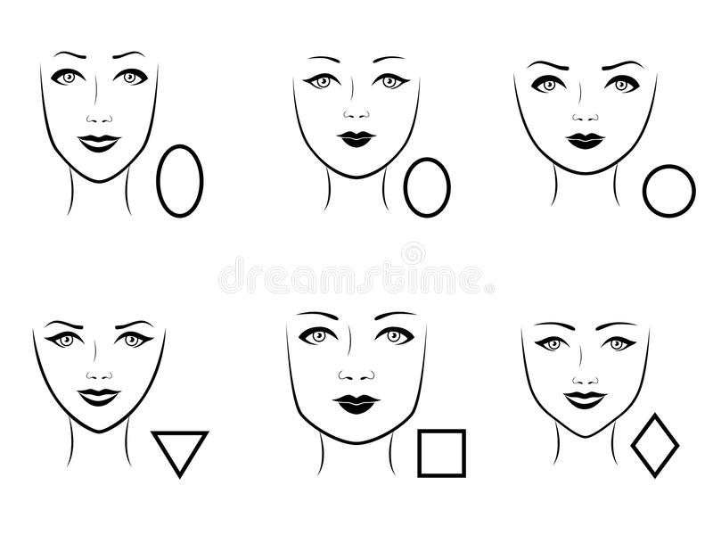 Set of six human face types. Set of six types of human faces with corresponding geometric shapes, vector illustration royalty free illustration