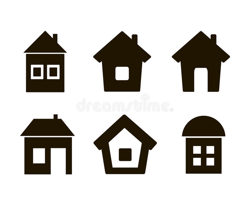 Set of six icons house black royalty free illustration