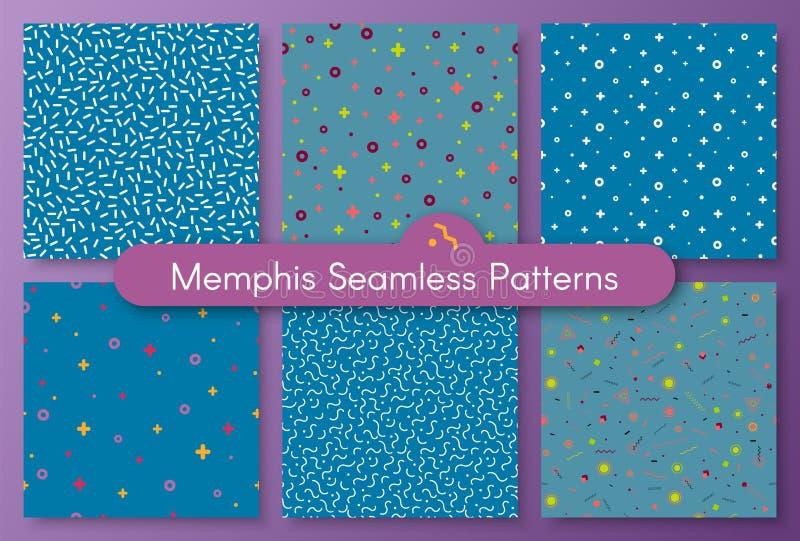Set of six memphis seamless pattern 80 - 90s style stock illustration
