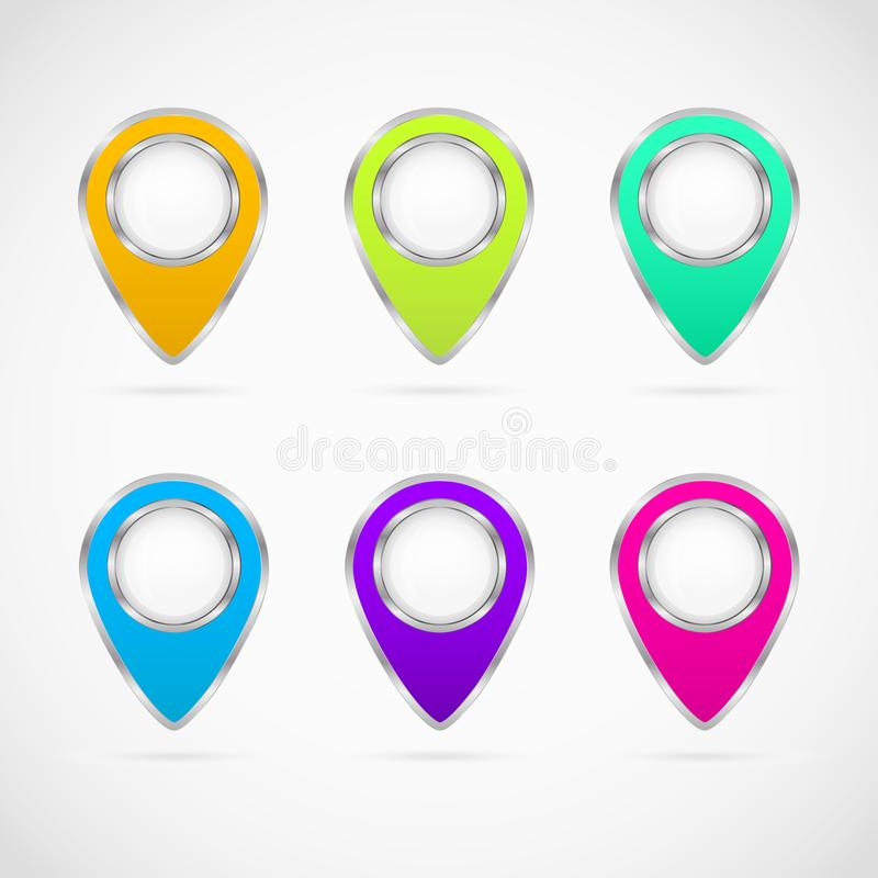 Set of six multi colored map markers with metallic edges royalty free illustration