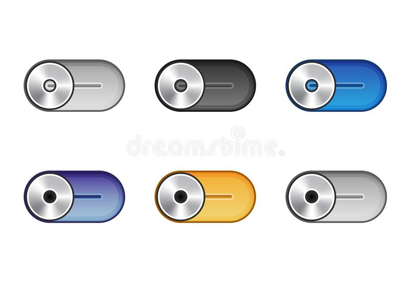 Set of six multicolored icons of sliders for camera application. stock illustration