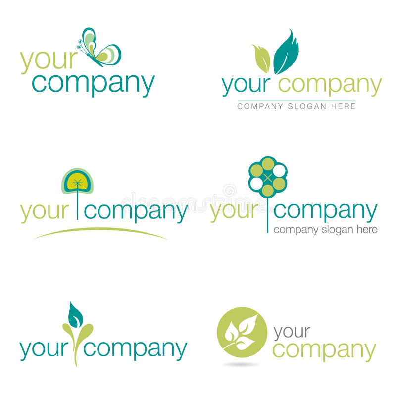 Set of six nature and gardening logos (vector) royalty free stock image