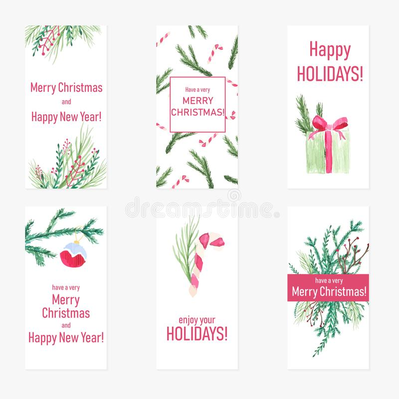Set of six New Year greeting cards with hand-drawn watercolor elements. Christmas posters with holiday gifts, decorations and pine. Fir trees vector illustration