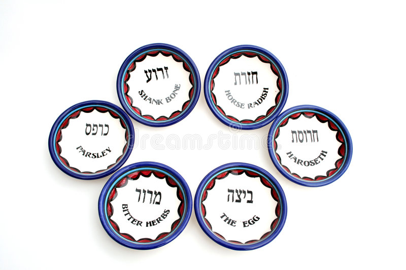 The Set of Six Passover Dishes stock photos