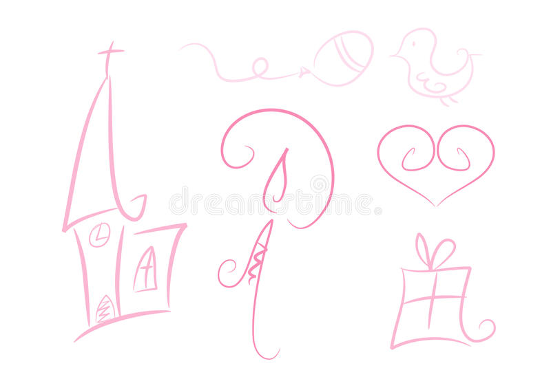 Download Set Of Six Pastel-colored Party Illustrations Stock Illustration - Image: 17859701