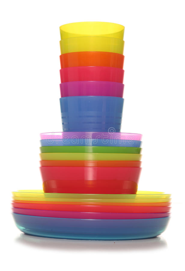 Set of six plastic cups bowls and plates stock images