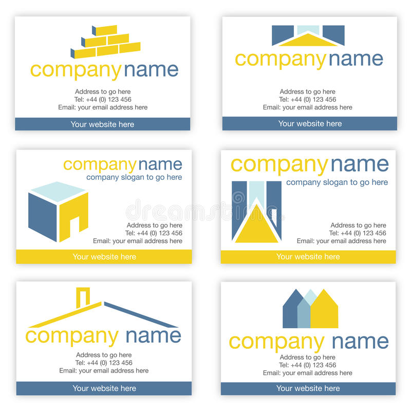 Set Of Six Real Estate Or Builders Business Cards Stock Vector ...