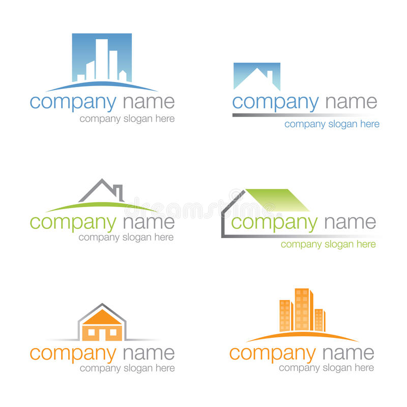 Set of six real estate logos (vector) vector illustration