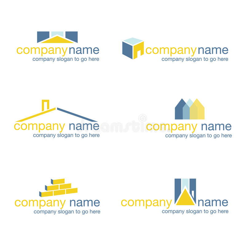 Set of six real estate logos (vector) stock images