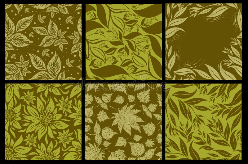 Set of six Seamless patterns from leaves. Set of six Seamless autumn patterns from leaves. Thanksgiving (from my big Seamless collection
