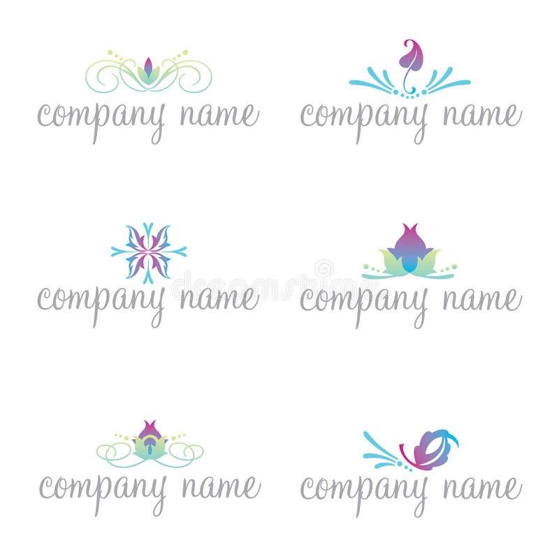 Set of six spa and wellness logos (vector) stock photography