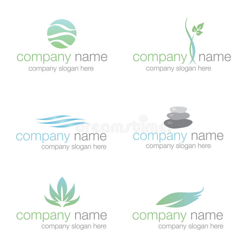 Set of six spa and wellness logos (vector) royalty free stock photography
