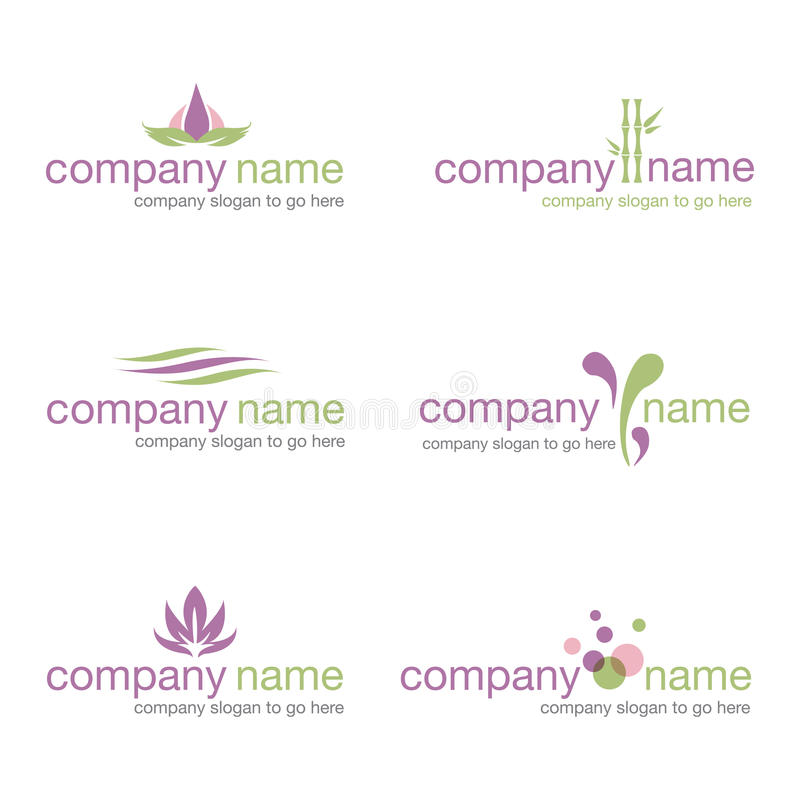 Set of six spa and wellness logos (vector) royalty free stock photo