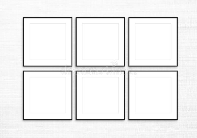 Set of Six Square Digital Black Frames royalty free stock photography