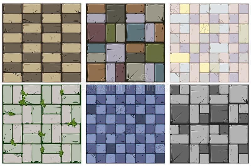 Set of six stone textures.Texture of old stone tiles, seamless background stone wall and grass. Vector illustration for user. Texture of old stone tiles stock illustration