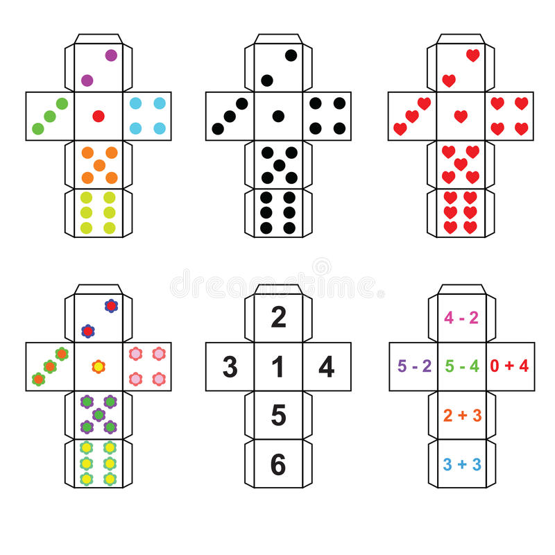 A Set Of Six Variants Of Dice Stock Vector
