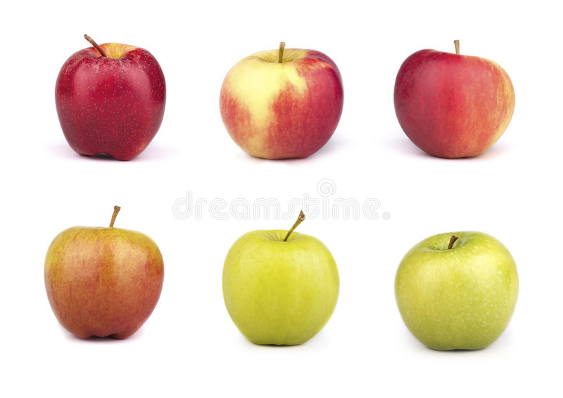 A set of six varieties of apples on white background royalty free stock photo