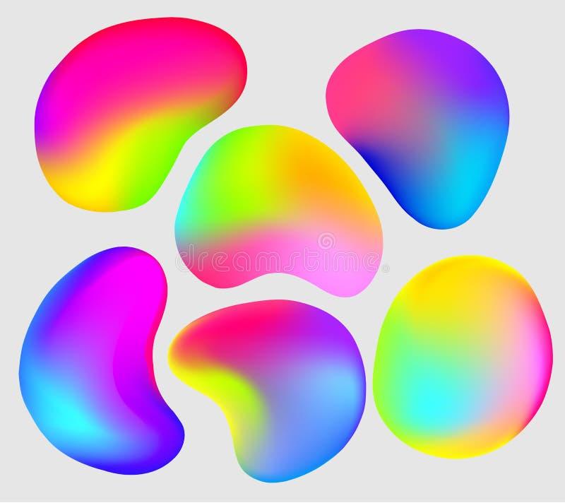 Set of six vector abstract gradient elements. Modern vector gradient elements royalty free illustration