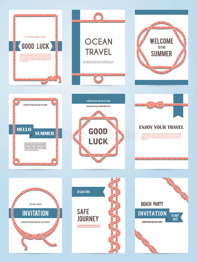 Set of six vector banner templates. In marine style. Elegant invitation card. Celebration design. Book cover. Greeting card. Beach party. Rope borders stock illustration
