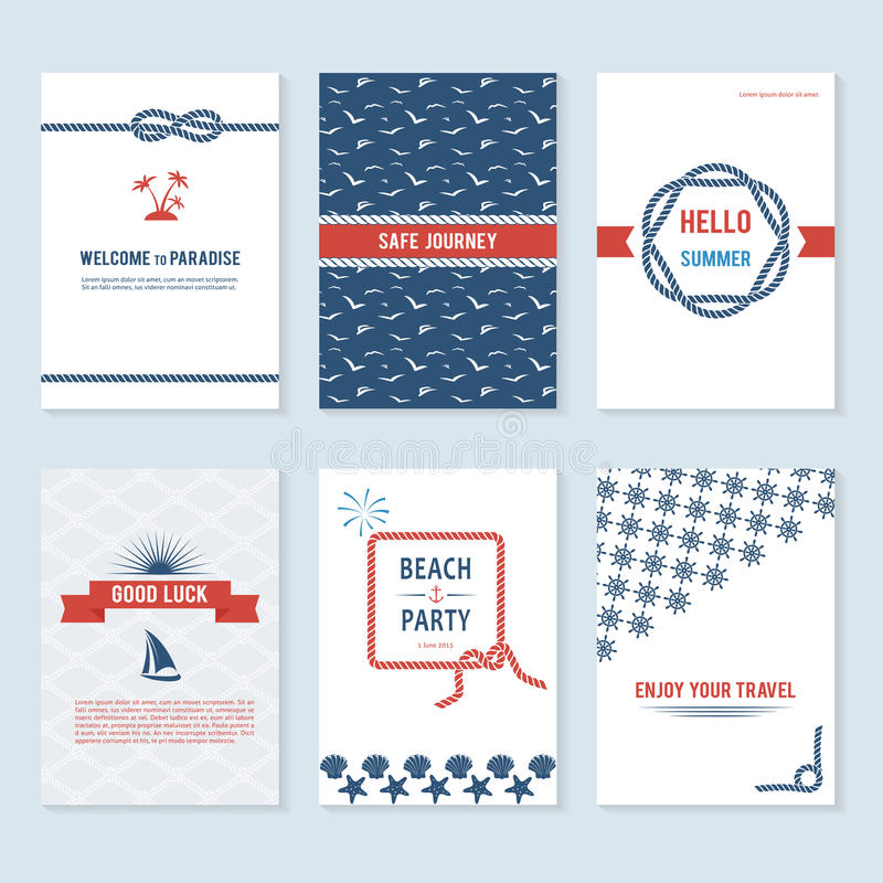 Set of six vector banner templates in marine style stock illustration