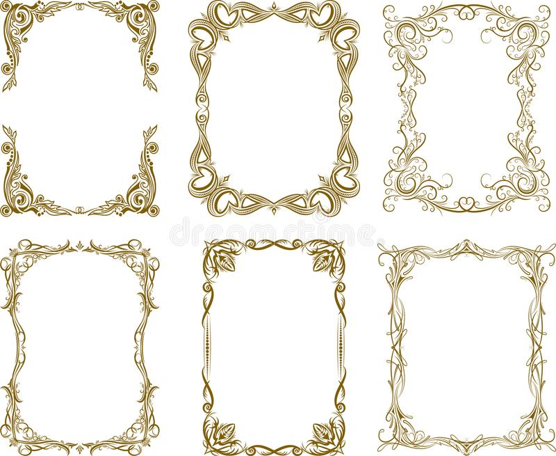 Set of six vector frames in rich brown gamma. vector illustration