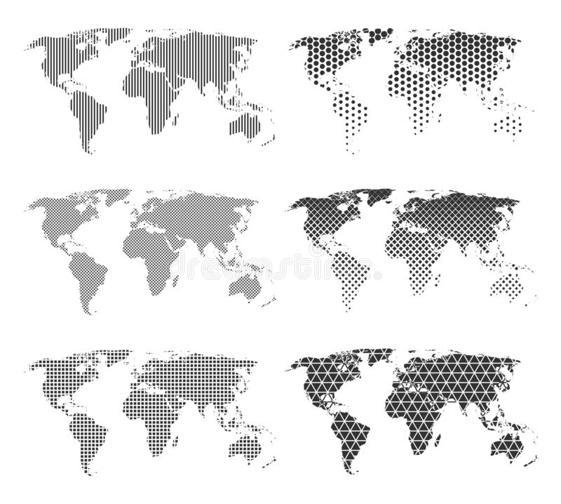 Set of six world maps with different patterns. Maps with dots, lines, hexagons, squares vector illustration