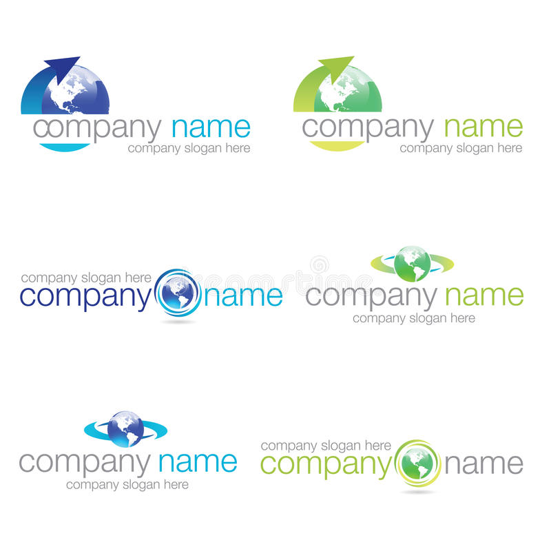 Set of six world logos stock photo
