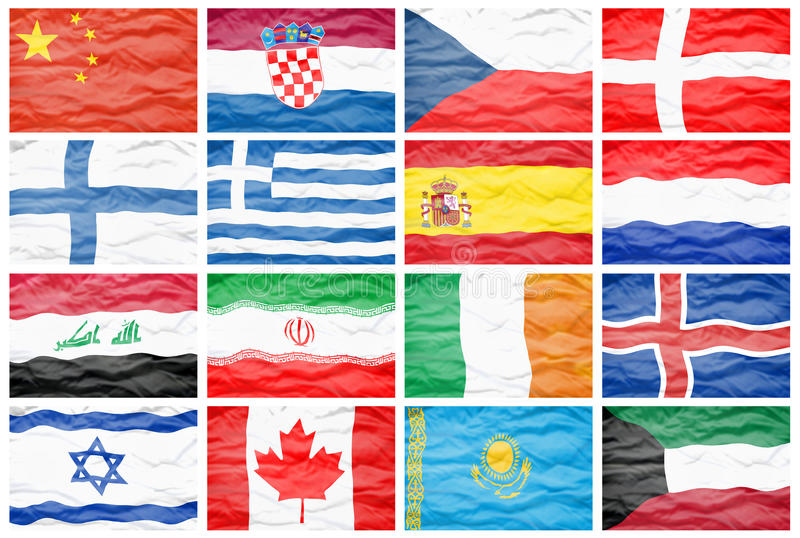 Set Sixteen Big Different National Flags Stock