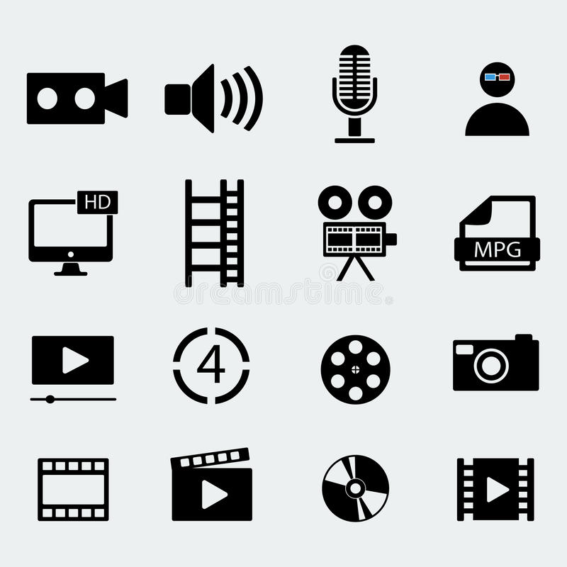 Set of sixteen cinema video icons . Vector illustration. Set of sixteen cinema video icons . Film tape, video folder. Vector design stock illustration