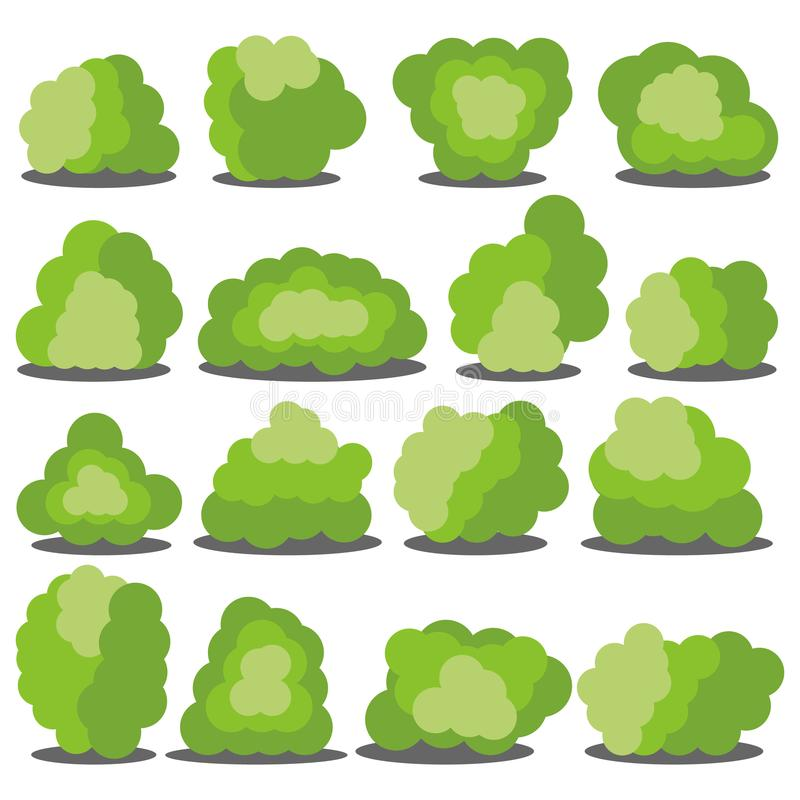 Set of sixteen different cartoon green bushes isolated on white background. stock photos