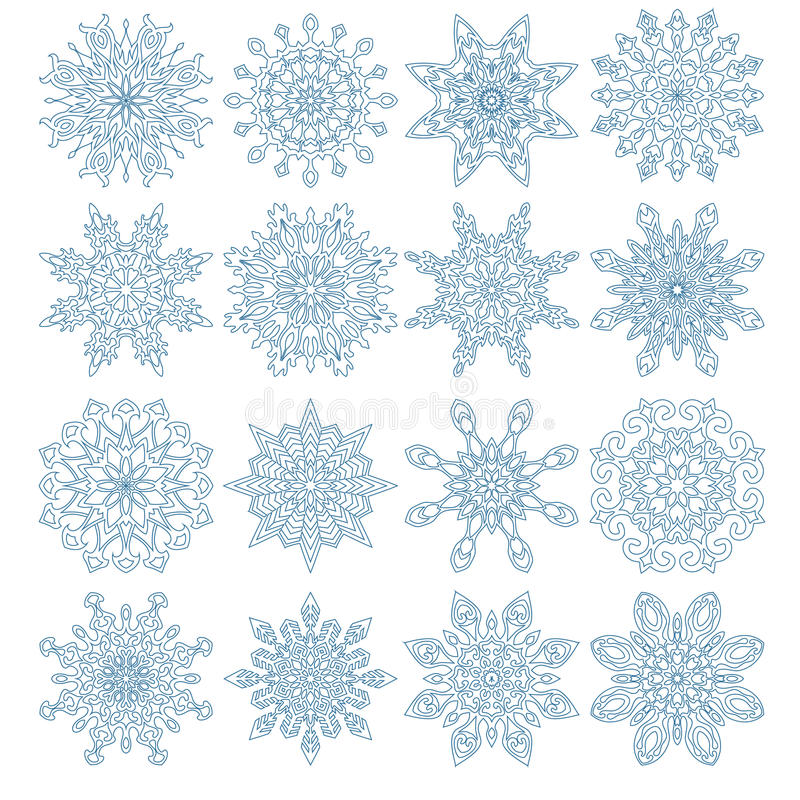Download Set of sixteen snowflakes stock illustration. Image of crystal - 36017273