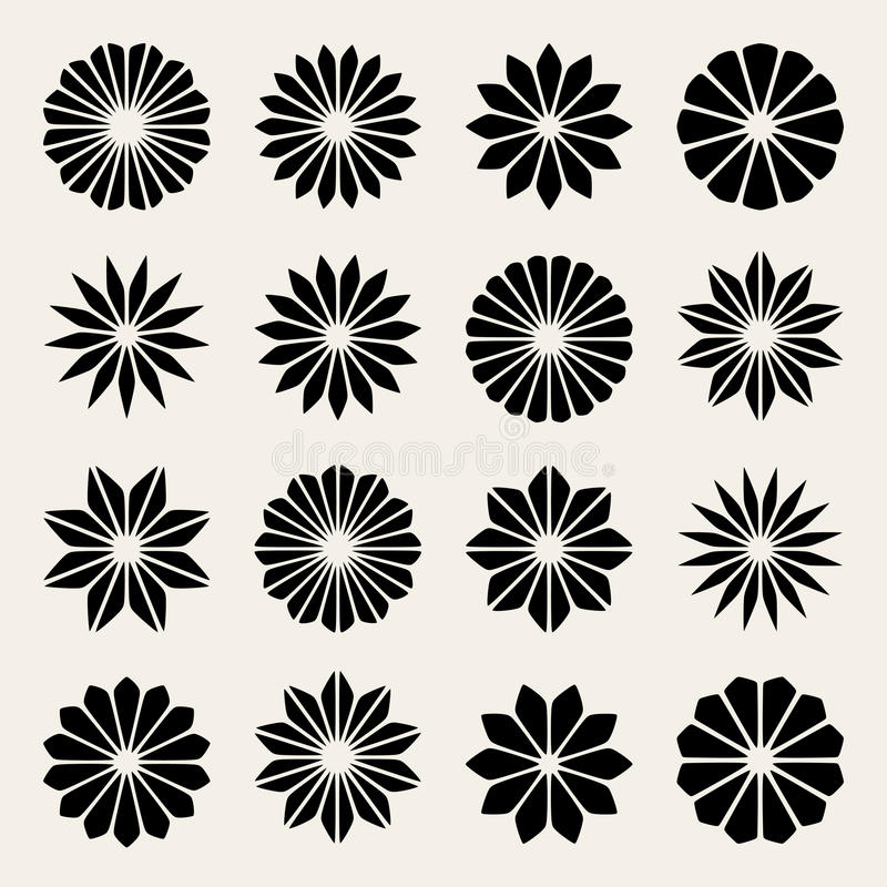 Set Of Black Flower Design Elements Stock Vector: Set Of Sixteen Vector Black White Flower Petal Star Shape