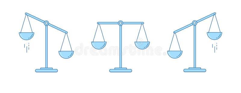Set Skalen Schüsseln Skalen in der Balance, eine Unausgeglichenheit von Skalen Auch im corel abgehobenen Betrag Zeile Auslegung lizenzfreie abbildung