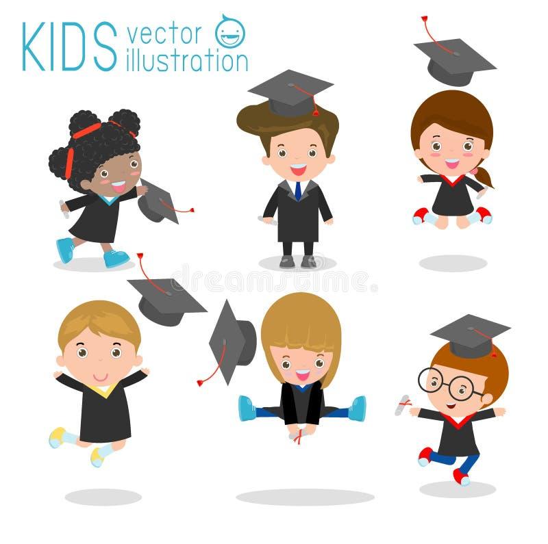 Set skalowanie dzieciaki, szczęśliwy dziecko kończy studia, szczęśliwi dzieciaki skacze, absolwenci, w togach i z dyplomem, uczni royalty ilustracja