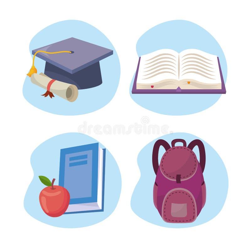 Set skalowanie nakrętka z dyplomem i książką z jabłkiem i plecakiem ilustracja wektor