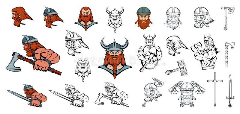 Set skandynaw Wikingowie w różnych pozach Skandynawscy wojownicy z tradycyjną bronią Dru?ynowa maskotka Skandynaw Wikingowie royalty ilustracja