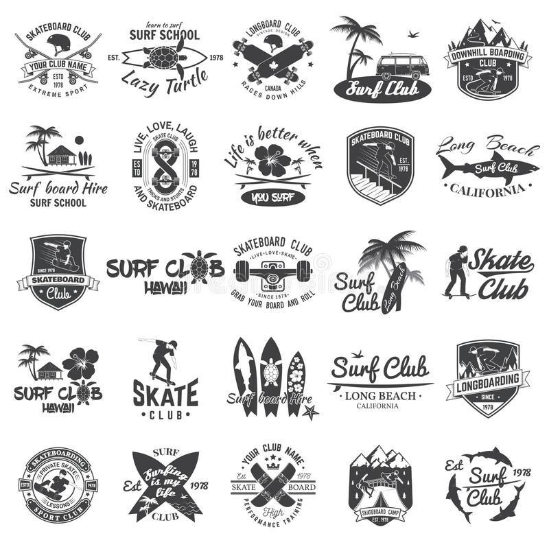 Set of skateboard, longboard and surf club badges. Vector illustration. For surf and skate club emblems, signs and t-shirt design. Vintage typography design stock illustration