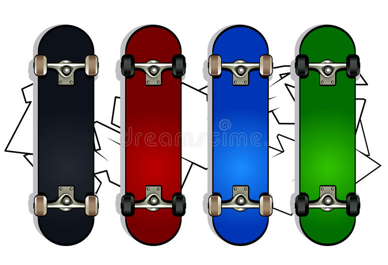Set of skateboards stock illustration