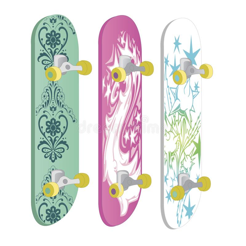 Set of skateboards with different designs and bright colors. Equipment for sport, healthy lifestyle and physical activity. Vector royalty free illustration