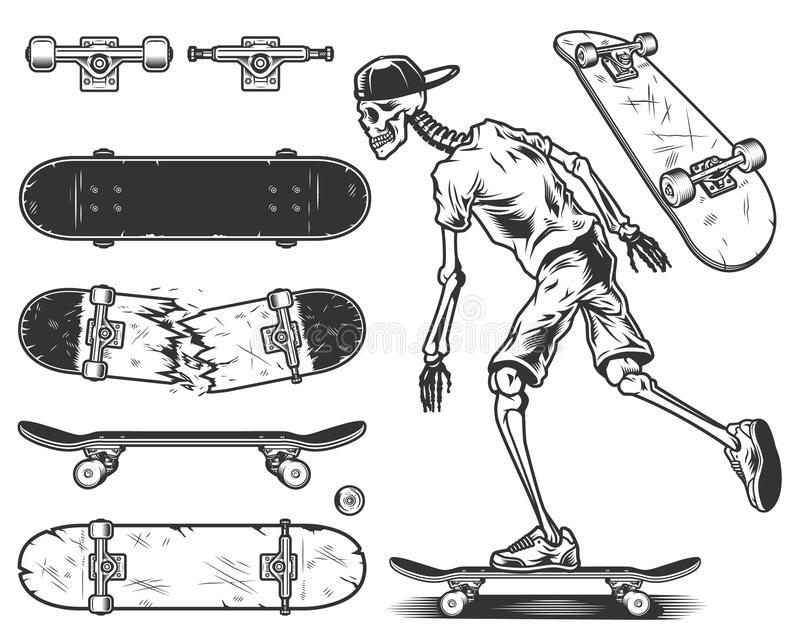 Set of skateboards stock illustration