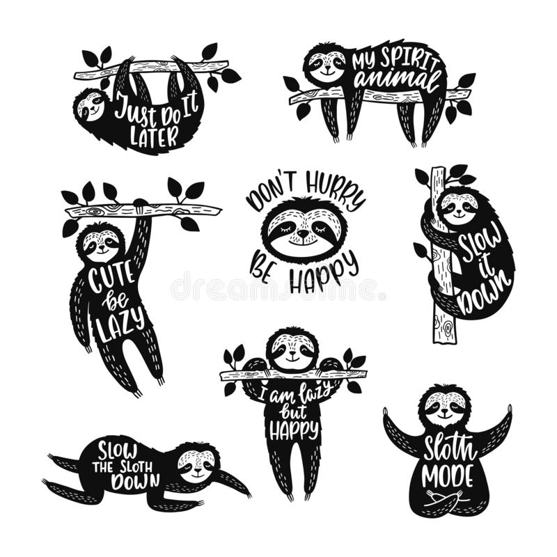 Set of sketch cartoon slothes with inspirational quotes. Hand drawn cute doodle vector illustrations. royalty free stock photos