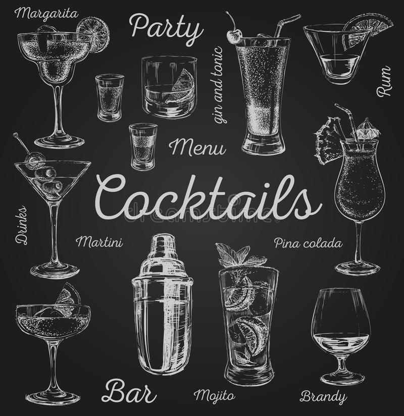 Set of sketch cocktails and alcohol drinks vector hand drawn illustration.  royalty free illustration