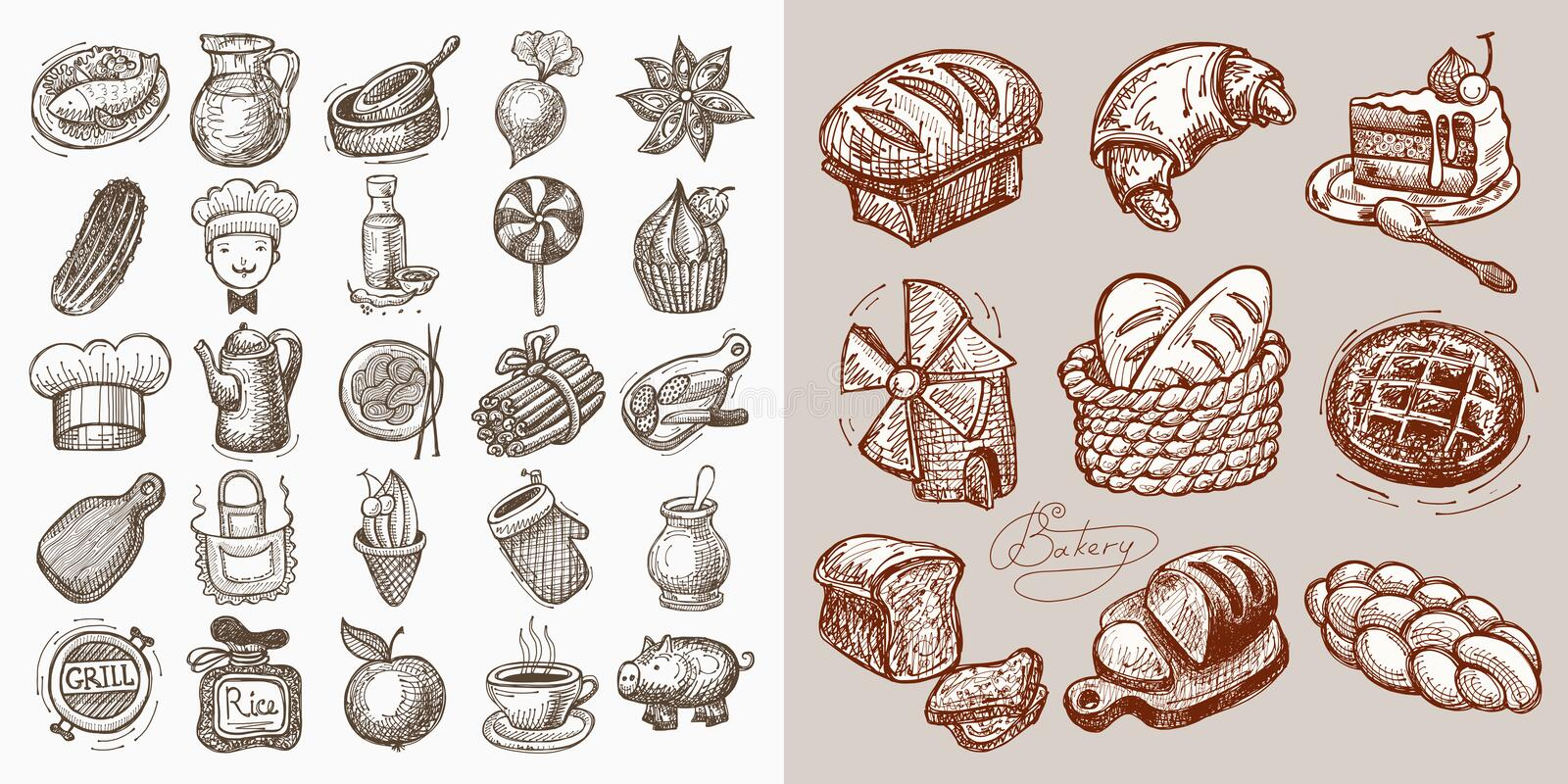 Set of 34 sketch doodle icons. Food, vector illustration collection vector illustration