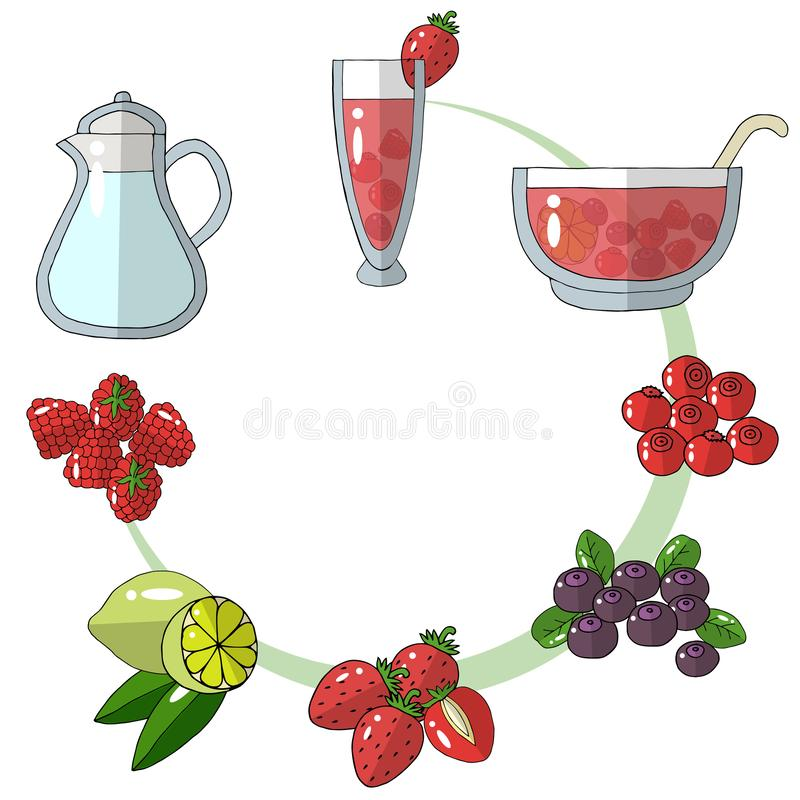 A set of sketch drawings. Ingredients for punch, lemonade, strawberry, raspberry, blueberry, cranberry, lime. Menu. A set of sketch drawings. Ingredients for stock illustration