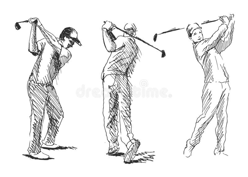 Set sketch golfer. Vector set sketch golfer. Vector illustration stock illustration