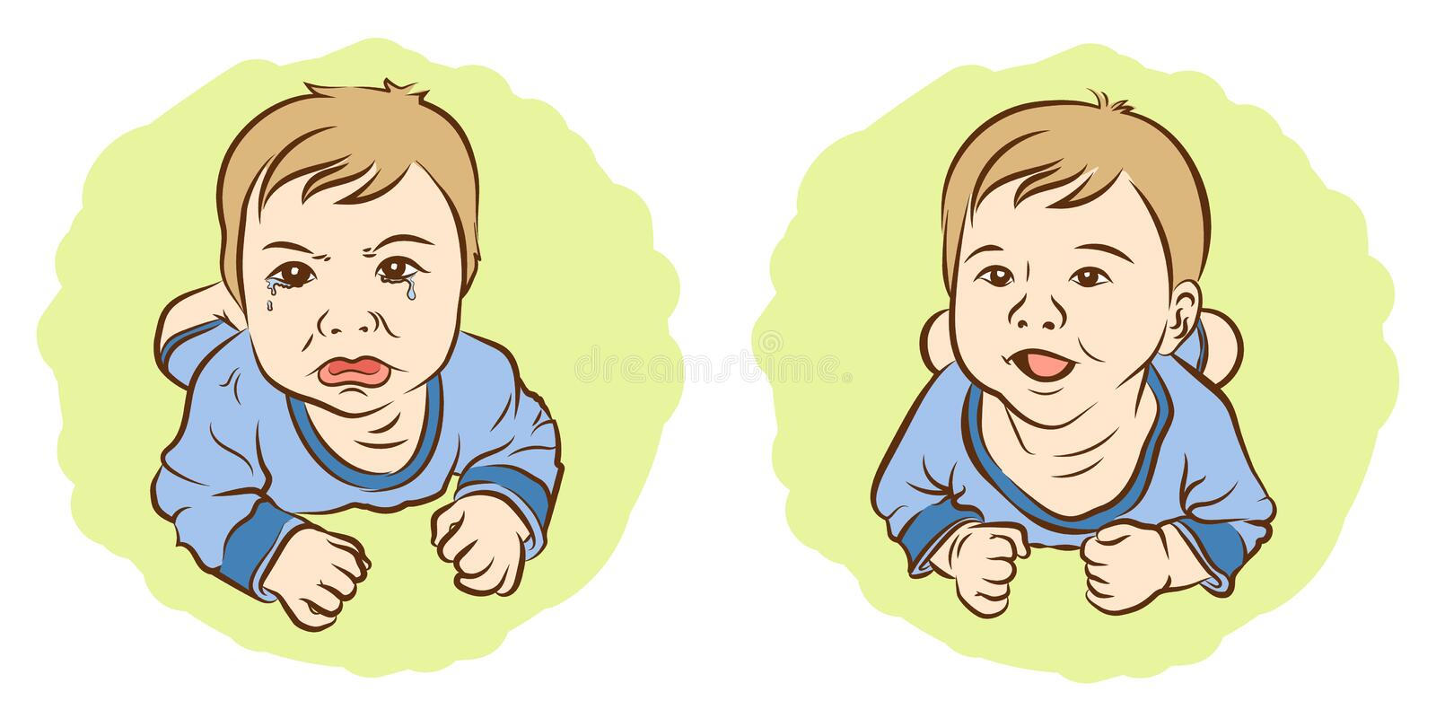 Set of sketch, Kids awful sadness face and happiness face. vector illustration