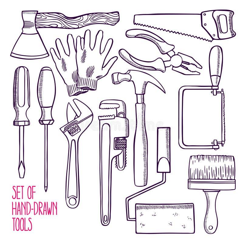 Set of sketch repair tools. Set of different sketch tools for repair. hand-drawn illustratio stock illustration
