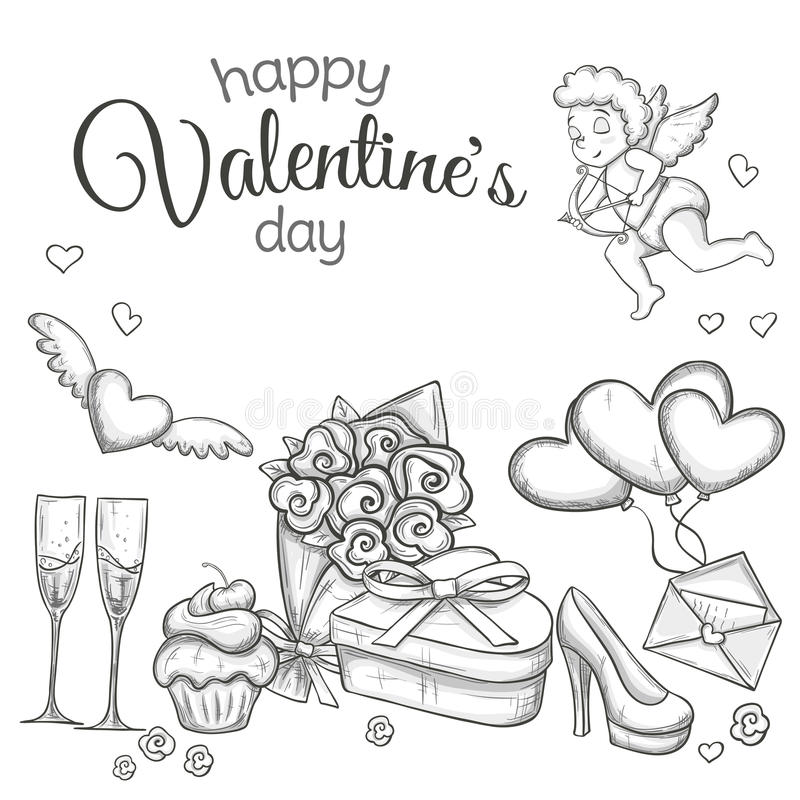 Set of sketch Valentines Day icons. Set of Valentine`s Day icons. Monochrome sketch style illustration for Valentine`s Day greeting card and decoration. Vector royalty free illustration