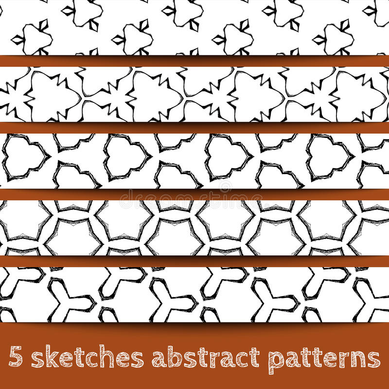 Download Set Of Sketches Abstract Seamless Patterns Stock Vector - Illustration: 27502681