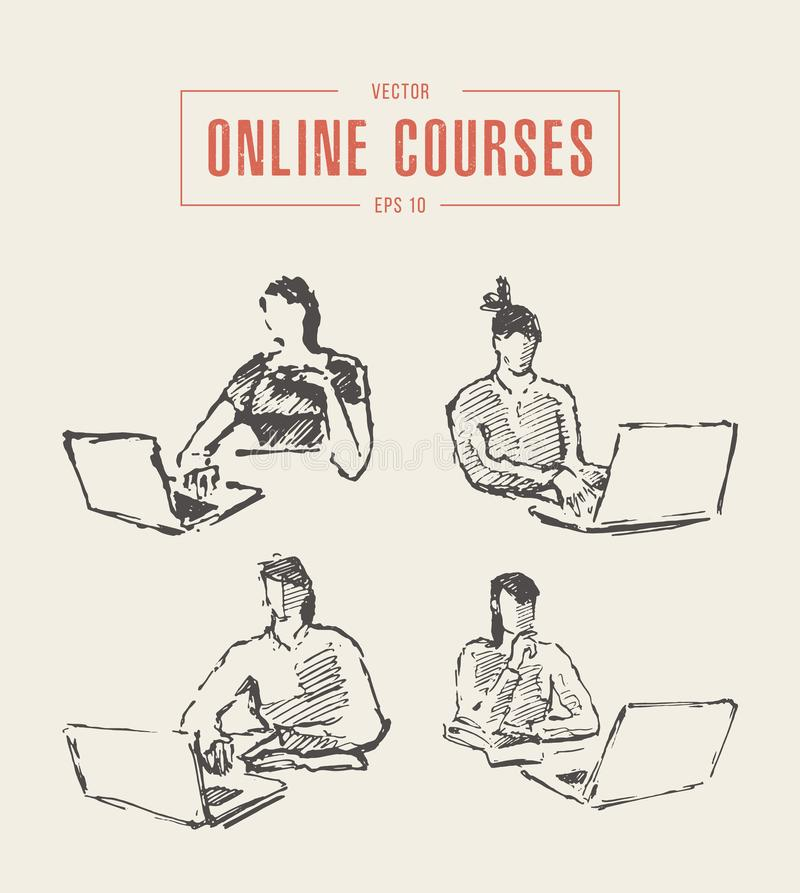 Set girl laptop education online courses vector. Set of sketches of a girl working at a laptop. Education, online courses, freelance work. Hand drawn vector vector illustration